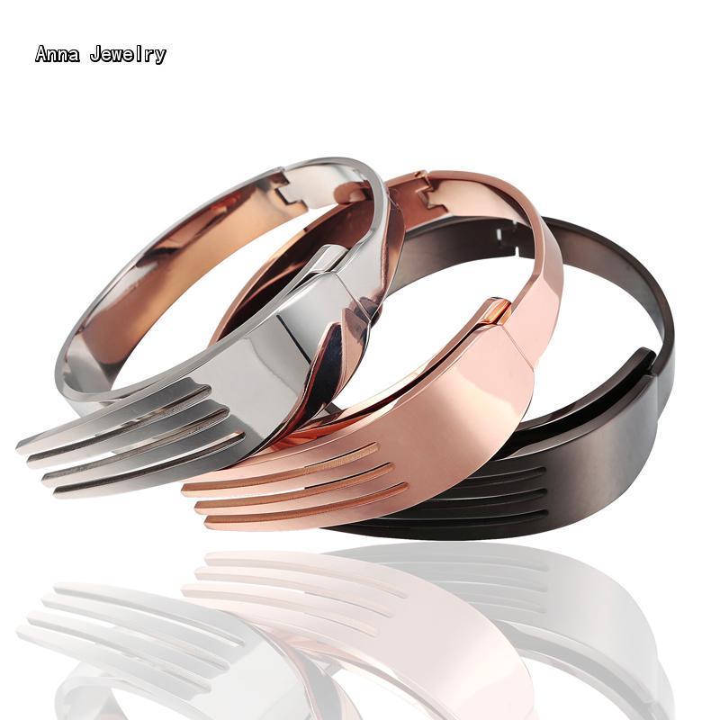 Diseñador con estilo Tenedor Forma Brazalete Pulsera, en Material de Acero Inoxidable, 4 Colores Available. Dientes Único Brazalete de la Pulsera para Las Mujeres(China (Mainland))