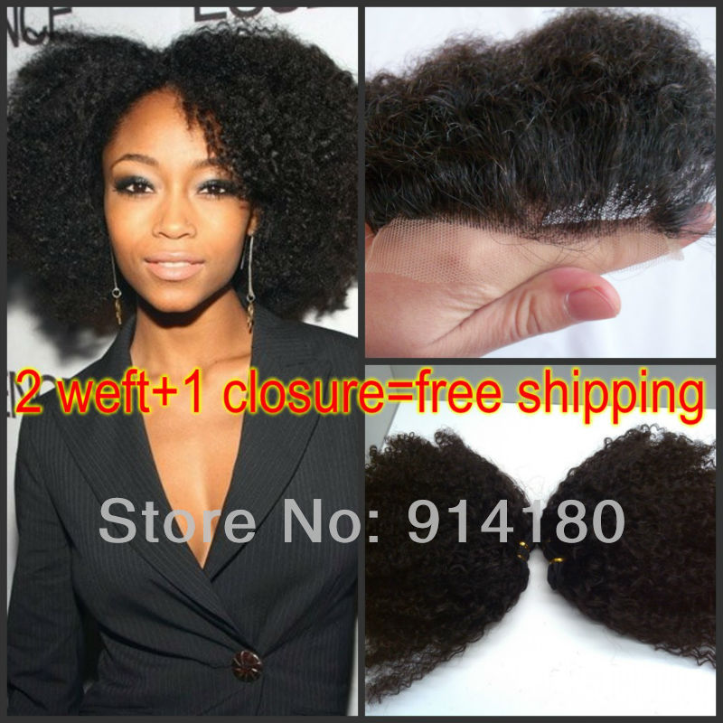 mongolian kinky curly hair,1 Piece Lace Closure Hair Bundle Weave, 8 inch-30 inch DHL - Qingdao noble queen hair factory store