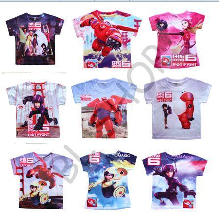Big Hero 6 Cartoon Kids Summer T Shirts Baymax Superhero Baby Clothes Fashion Children Frozenly Boys Girls t shirts(China (Mainland))