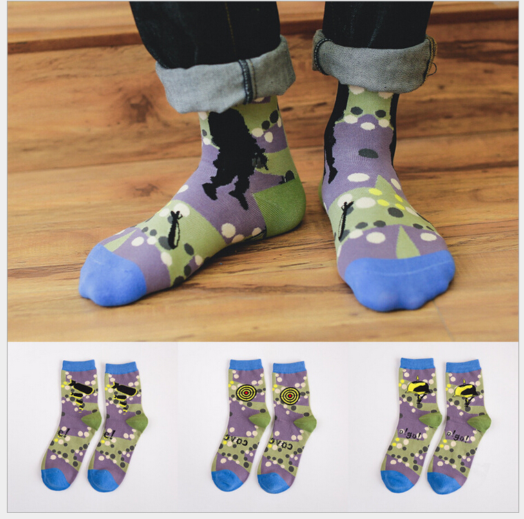 5 colors new design camouflage army theme pattern high quality combed cotton autumn winter creative novelty brand men socks(China (Mainland))