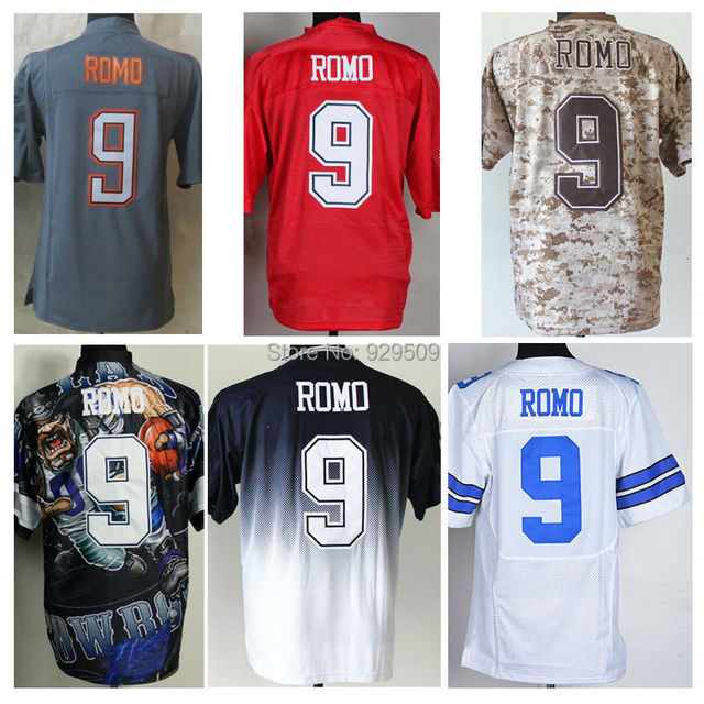 tony romo jersey stitched cheap american football jerseys embroidery signature fashion camo blue white pro bowl jerseys