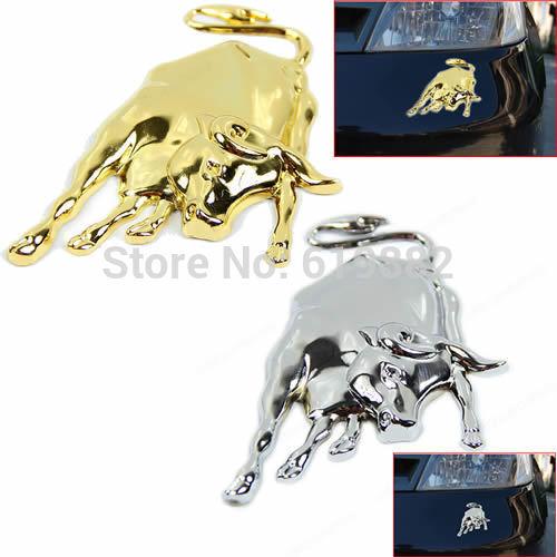 Free Shipping 1PC New 3D Golden Silver Chrome Metal Bull Ox Emblem Car Truck Motor Sticker