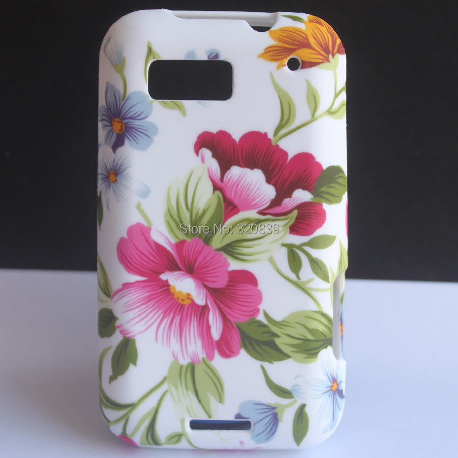 Luxury F3 Flower Pattern Soft Rubber TPU Skin Cover Case For MOTOROLA DEFY MB525(China (Mainland))
