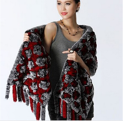 Hot-selling rabbit fur shawl pocket design knitted rex rabbit poncho fur vest in winter lady's fashion coat FH082(China (Mainland))