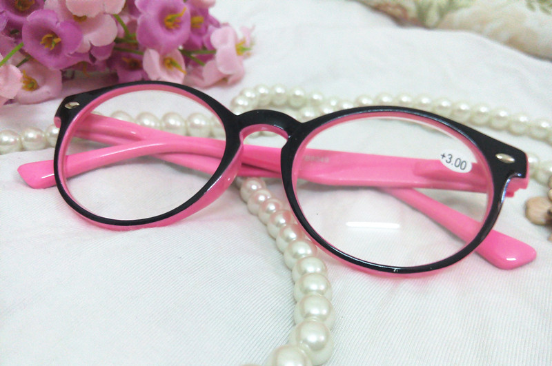 Large Frame Retro Reading Glasses : Big Large Round Frame Women Ladies Fashion Black Pink ...