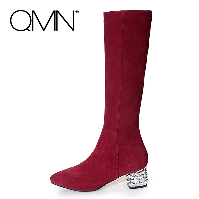 Фотография QMN women genuine leather knee high boots Women Rhinestone Suede Fashion Winter Boots Botas Femininas Plus Size 34-43