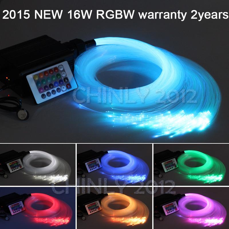 16W RGBW LED Fiber optic light Star Ceiling Kit Lights 150pcs 0.75mm 2M optical fiber lighting+RF 28key Remote engine(China (Mainland))