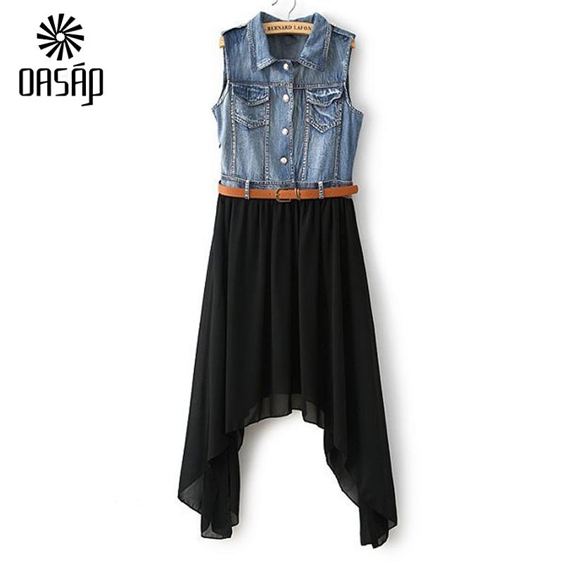 OASAP Fashion Summer Women Dress Denim Tulle Lace Dress Patchwork Chiffon Sleeveless Shirt Dress with Belt free shipping-38199