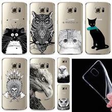 Бесплатная доставка ультратонкий прозрачные мягкие черный белый кот сова орел сотовый телефон обложка для Samsung Galaxy S6Edge WHD1528