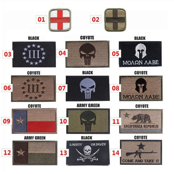 The Punisher Texas Red Cross Embroidery 3D Patch Armband Skull Velcro Tactical Gear Outdoor Props Badge