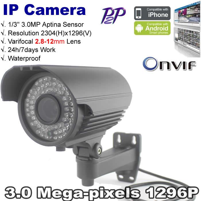 ! Full HD motion detect 1296P H.264 wired IP Bullet camera ONVIF 3.0 Megapixel Camera Varifocal 2.8-12mm lens - Dongphia Intelligence store