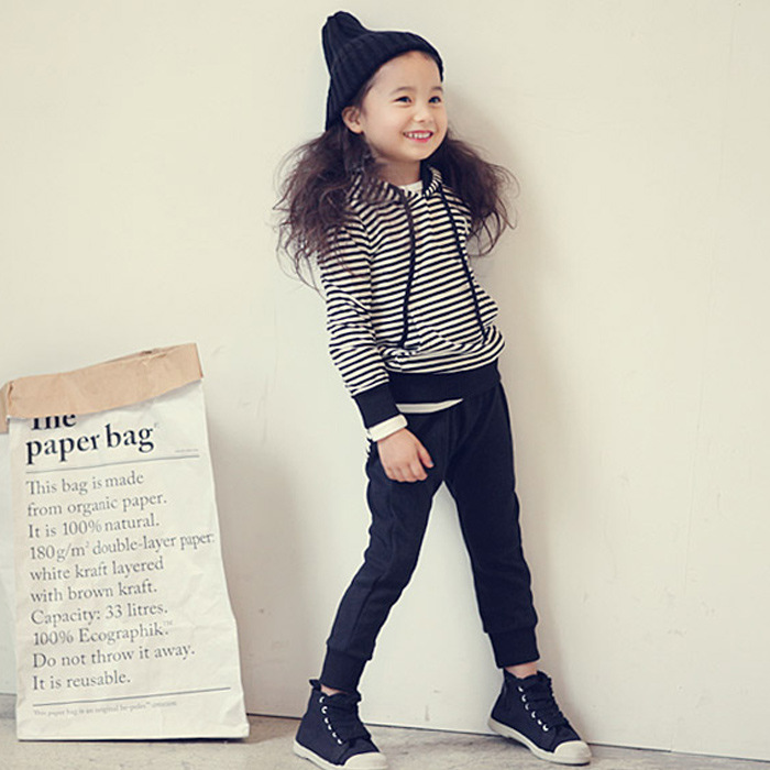 2016 Spring Cotton Branded Big Teenage Girls Clothing Long Sleeve Striped Children Suits Tracksuits For 4 6 8 10 12 Years Kids(China (Mainland))