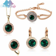 Miss Lady Gold Plated Rhinestone Crystal Romantic Moon Crystal Weddings Jewelry Sets Wholesales Fashion Jewelry for women Y4335(China (Mainland))
