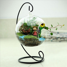 New Clear Glass Round with 1 Hole Flower Plant Stand Hanging Vase Hydroponic Home Office Wedding Decor(China (Mainland))