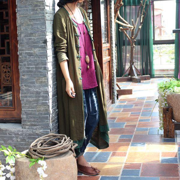 Осень 2016 новых сплошной цвет женщины лен плащ оригинальный дизайн с длинными рукавами ...