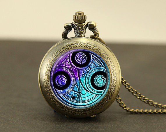 Steampunk UK drama doctor dr who vintage Necklace 1pcs/lot bronze silver Pendant jewelry pocket watch chain mens harry(China (Mainland))
