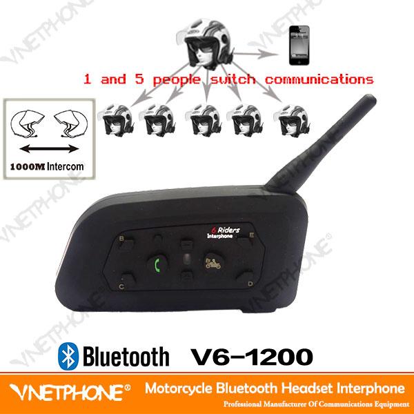 newest wireless Motorcycle Helmet intercom Bluetooth Intercom for 6 Riders Interphone 1200m helmet Headset Mp3 Music GPS(China (Mainland))