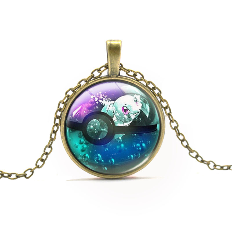 Hot Sell Pocket Monster Cute Squirtle Necklace Pokemon Students Vintage Glass Cabochon Dome Pendant Necklace For Boys Girls Gift(China (Mainland))