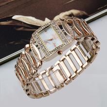 Wh12 moda Rhinestone pulsera de cadena cara cuadrada señora de pulsera de cuarzo oro rosa reloj determinado del taladro de diamante relojes mujer