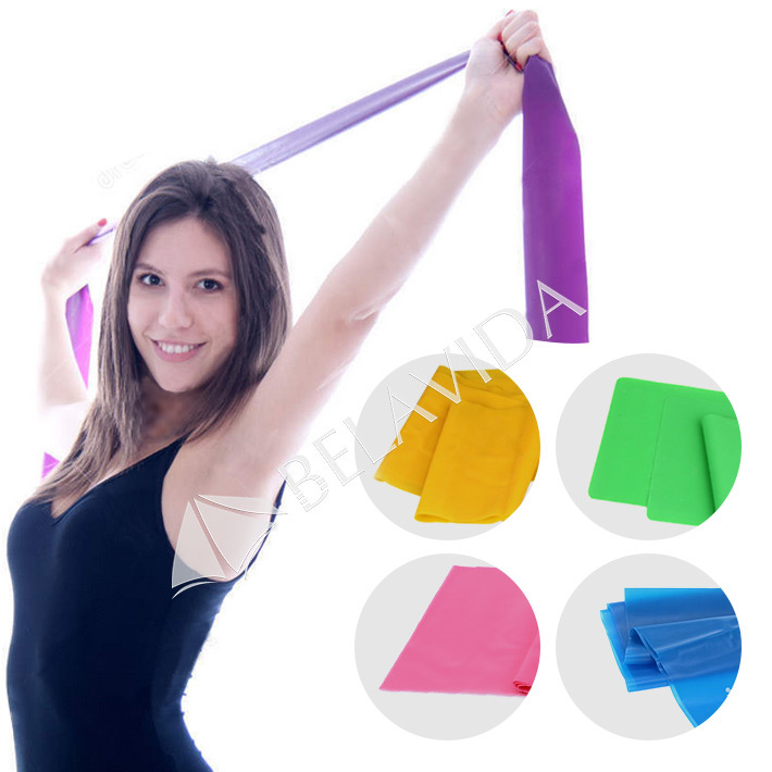 1.5m Yoga Pilates Stretch Resistance Band Exercise Fitness Band Training Elastic Exercise Fitness Rubber 150cm High Quality(China (Mainland))
