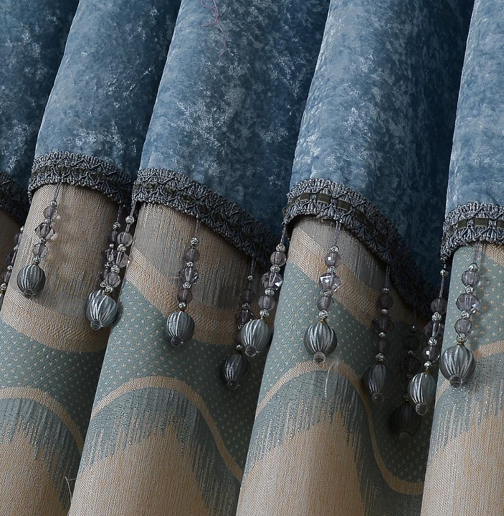 Luxe europese gordijn hoofd gordijn geborduurde blauw bruin ...
