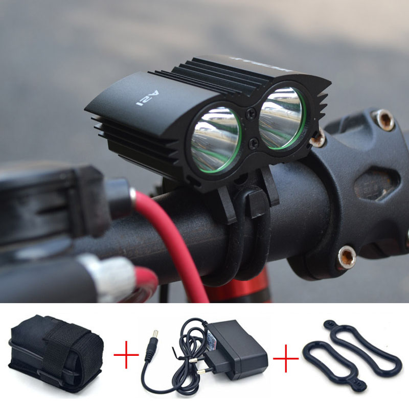 A21 LED Bicycle Light 2*XM-L U2 LED 4 Modes Dual Head Bicycle light LED Bike Front light Headlight Cycling Light + Battery + CH(China (Mainland))