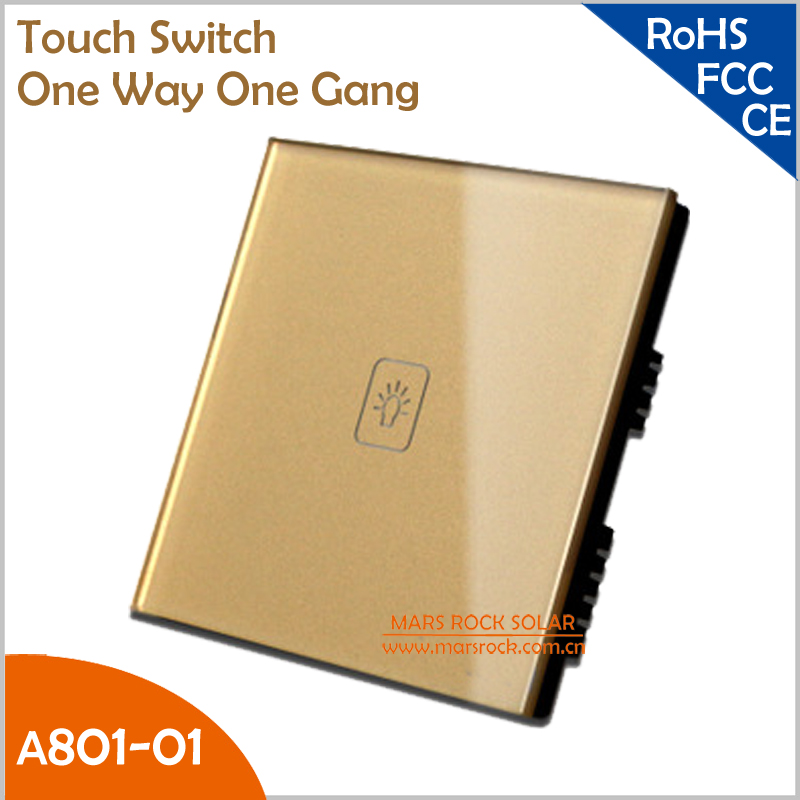 UK Touch Swithch Tempered Crystal Glass Panel Smart One Way One Gang Wall Switch with White, Black and Gold Color for Choice(China (Mainland))