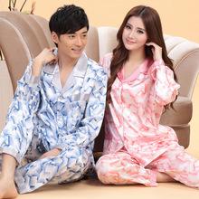 Long Sleeve Silk Couples Pajamas Sets Pijama Sexy male Men Sleepwear Sleepcoat Pijama 4XL Home Clothing Plus Size(China (Mainland))
