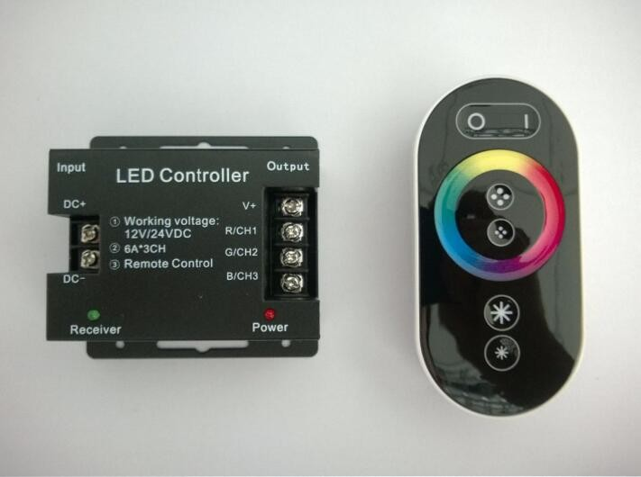 finger touch wireless RGB controller DC12V 18A ,wireless rf remote rgb led controller,wireless rf remote rgb led controller mini(China (Mainland))