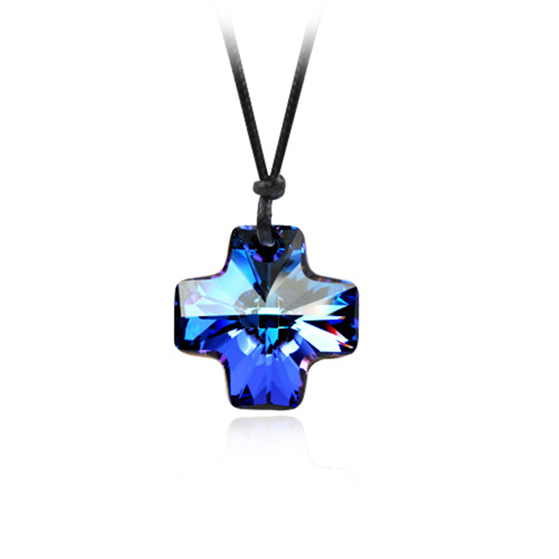 Btime Wholesale Genuine Crystals from Swarovski Crystal Cross Long  Necklaces u0026 Pendants With Rope Chain Fashion Women Jewelry