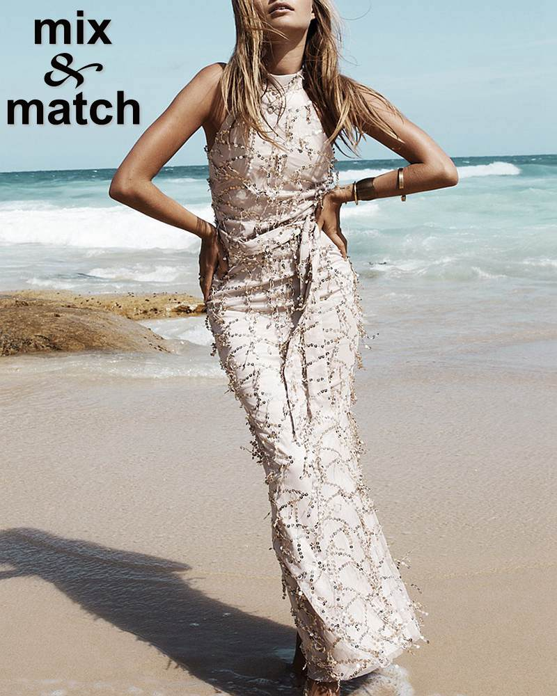 Beach style Spangle Dress Stand Collar Sleeveless Slim Long Dress Champaine color Fringed Sequined Dress with Bow Belt DR05499C(China (Mainland))