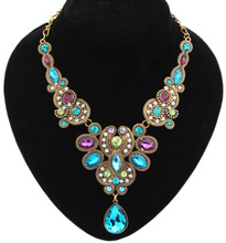 Jewelry Fashion Vinatge Bohemia Gem Colorful Drop Choker Necklace Statement For Woman 2015 New sc98