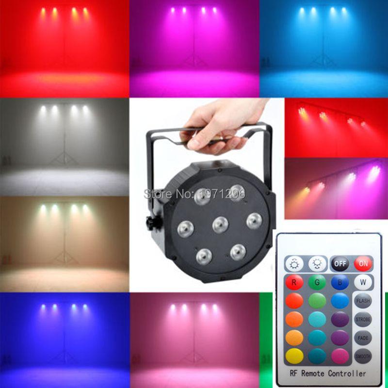 Wireless remote control LED Mini PAR light 7X12W DMX rgbw 4in1 quad led flat par can stage lighting(China (Mainland))