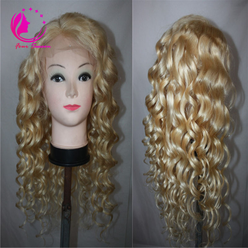 #613 Blonde Human Hair Lace Front Wigs Brazilian Unprocessed Virgin Lace Front Wig With Bleached Knots Baby Hair 130% Density(China (Mainland))