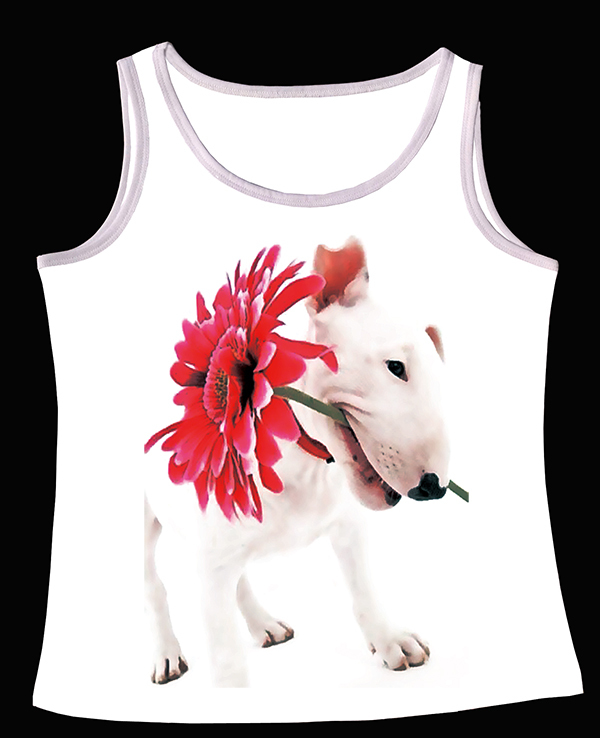 Track Ship+Fresh Summer Hot Tops Top Vest Tanks Camis White Bull Terrier Dog with A Red Flower in Mouth 0826(Hong Kong)
