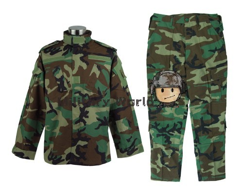Woodland Color Outdoor Male Training Swear Military Tactical Combat BDU Uniform Suit Sets Jackets & Pants Free Shipping