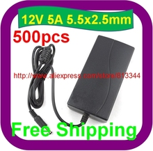 500 pcs 12V 5A  Led Power Adapter for 5050/3528 SMD LED Light or LCD Monitor For camera(China (Mainland))