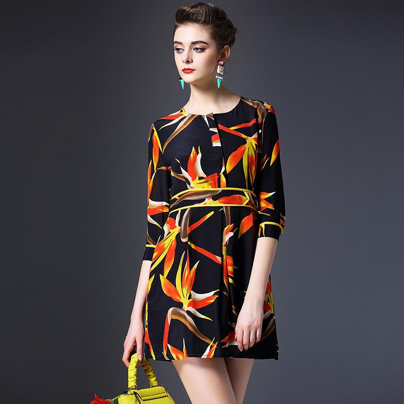 100% genuine silk dress new 2016 spring summer dress half sleeve O neck vintage print women brand dress high end vestidos