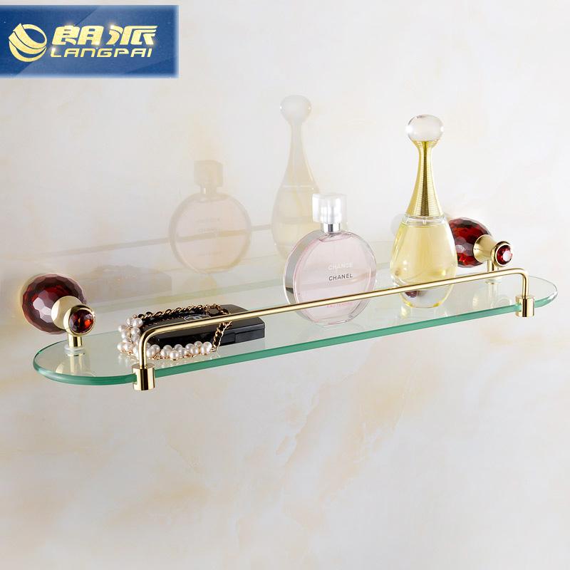 Acessórios Do Banheiro Prateleira De Vidro Sólido LANGPAI Pente Maquiagem Organizador WC Torcedor Cremalheira Do Banheiro Fixado Na Parede Da Prateleira S9101(China (Mainland))