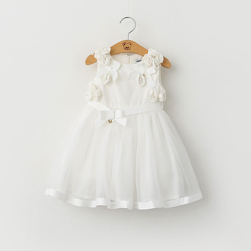 New Baby Girls Tulle Lace Dresses Kids Girl 3D Rosette Floral Bow Dress 2016 Babies Princess tutu Dress Children's Clothing