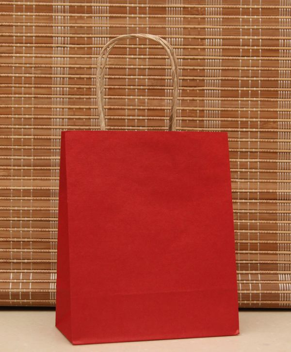 10pcs red color paper bag with handles 21x15x8cm diy for Diy colored paper