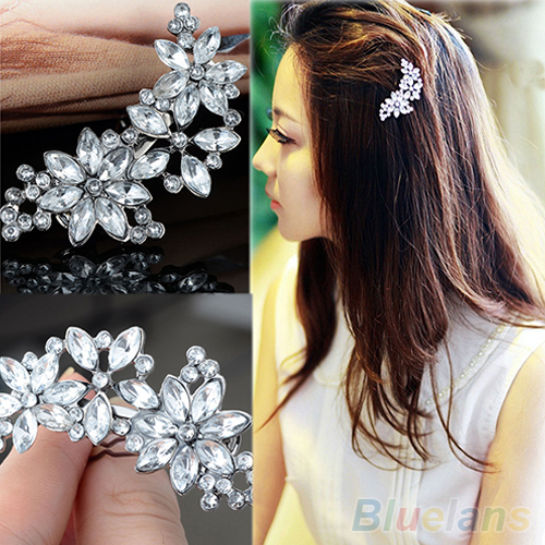 Women's Bride's Bridesmaid's Rhinestone Flower Crystal Hair Clip Comb Jewelry 2M92(China (Mainland))