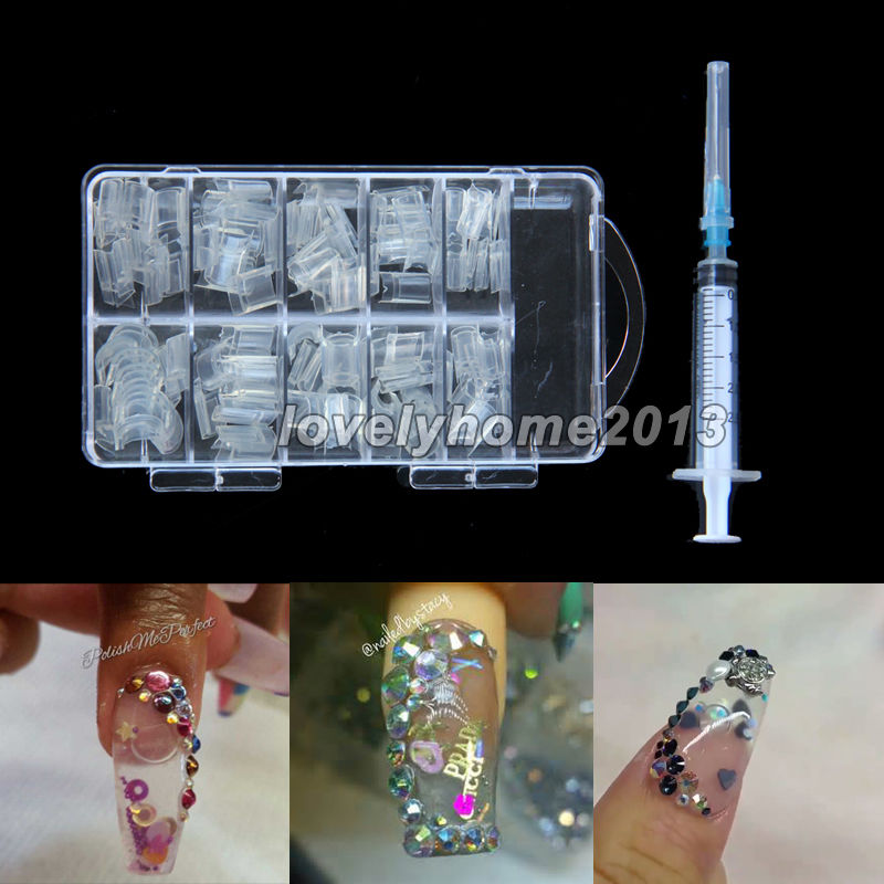 NEW Professional 100pcs Aquarium Nails AQUA Clear Bubble False Nail ...