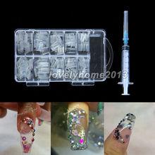 NEW Professional 100pcs Aquarium Nails AQUA Clear Bubble False Nail Art Tips With Syringe injector
