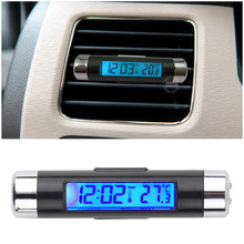 New 2 in1 Car Auto LCD Clip-on Digital Backlight Automotive Thermometer Clock + Voltmeter hot selling(China (Mainland))