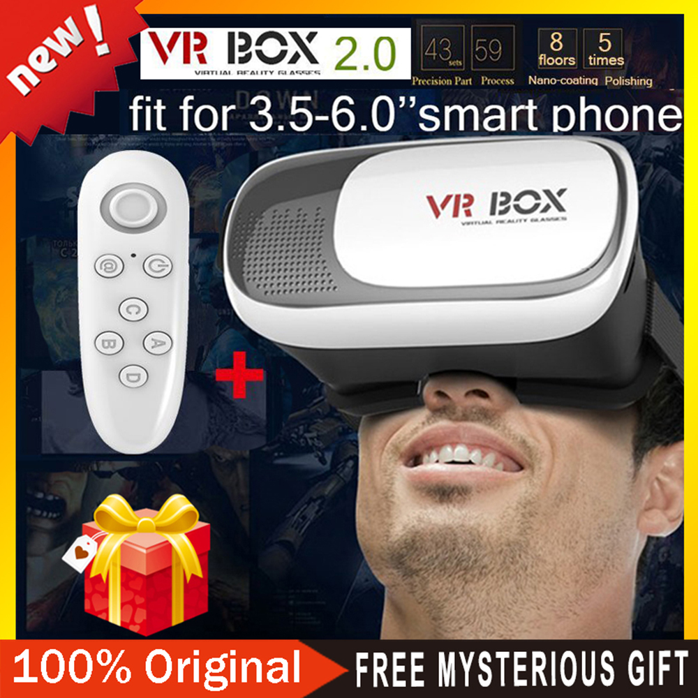 "Head Mount Plastic VR BOX 2.0 Version Virtual Reality Glasses Google Cardboard for 3.5"" - 6.0"" Smart Phone and + Remoter gamepad(China (Mainland))"