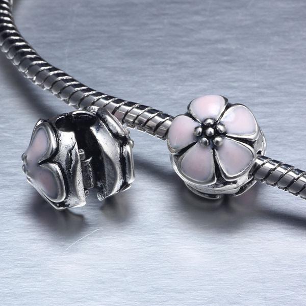 free shipping light pink Enamel Clip flower Charm safety Stopper Beads Fit European Pandora Bracelet Bangle DIY Jewelry YW15028(China (Mainland))
