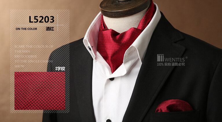 L5203 Geometric Men Ascot Cravat(Scarves Scarf )+Pocket Square 1set Red Classic Party Holiday Jacquard Ties Free shipping(China (Mainland))