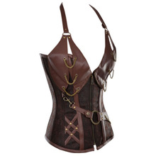 14 Steel Bone Steampunk Leather Corset with Thong For Waist Training
