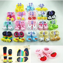 24 pieces/lot Baby Animal Socks Kids Outdoor Shoes Infant Anti-slip Walking Children Newborn Sock Kid's Gift  0-24month(China (Mainland))